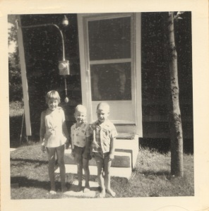 Gail, Colin and me in front of our cabin