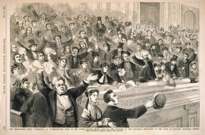 Perhaps an image of people applauding at the impeachment trial of Pres. Andrew Johnson is not the most auspicious choice for the occasion