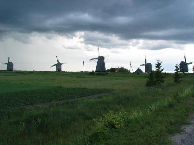 The windmills of Angla, with the storm fast approaching