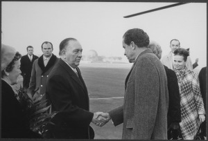 Daley in a favorite role, greeting a President