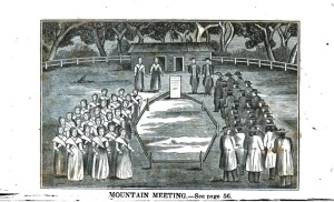 A depiction of one of the outdoor spiritual ceremonies