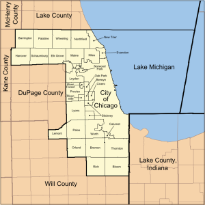 The City of Chicago and other communities in Cook County.
