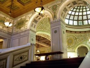 An interior view of the old library building