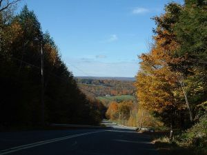 Leyden is a hilly and heavily forested town