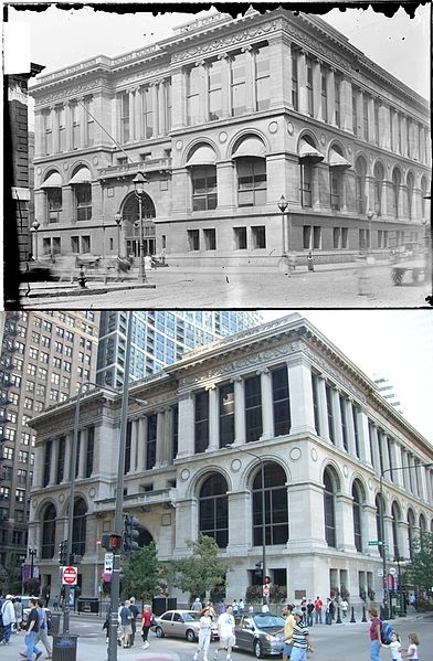 The old library building in 1903, and how it looks today as the Chicago Cultural Center