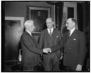 Retiring Chief Moran, Secretary of the Treasury Morgenthau, new Chief Frank Wilson