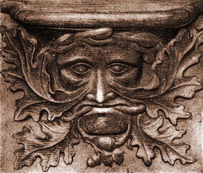 Etching_of_Vendome_Green_Man_misericord