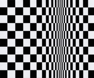 "Bridget Riley's ""Movement in Squares"" (1962) is a representative example of black-and-white op art"