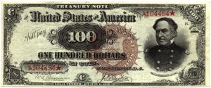 This note could be redeemed for $100 in coins, gold or silver