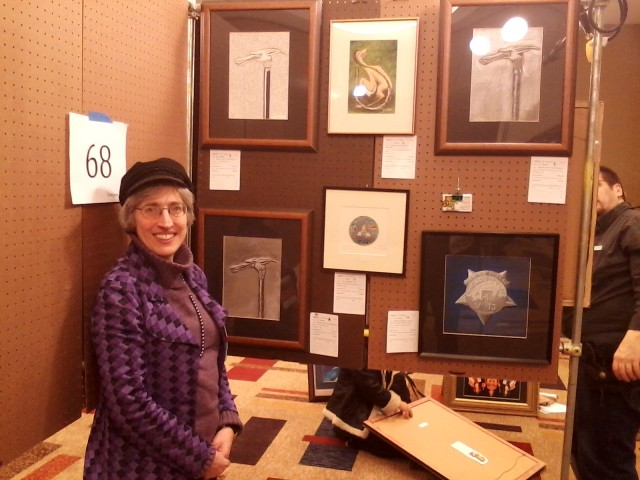 E.J. Barnes with her art work