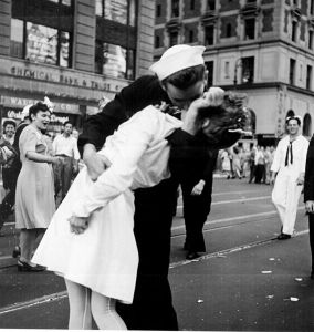 This famous photo was taken on V-J Day in 1945. Wouldn't kissing (between consenting adults) be a great way to celebrate the end of wars?