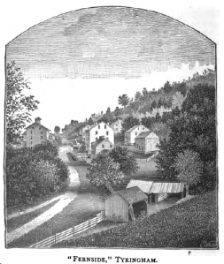 The former Shaker Village of Tyringham as it appeared circa 1886