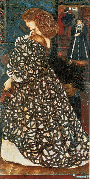 And to complete the loop, the most famous portrait of Sidonia was painted by Edward Burne-Jones, who, like Dante Gabriel Rossetti, was a member of the Pre-Raphaelite Brotherhood