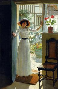 """At the Cottage Door"" by William Henry Margetson"