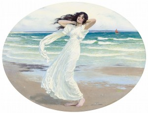 """Poseidon's mistress on the shore"" by William Henry Margetson"