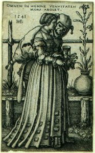 """""""Death and the Woman"""" is also a common artistic motif. Sebald Beham (1500-1550) tackled it at least twice, once chastely . . ."""