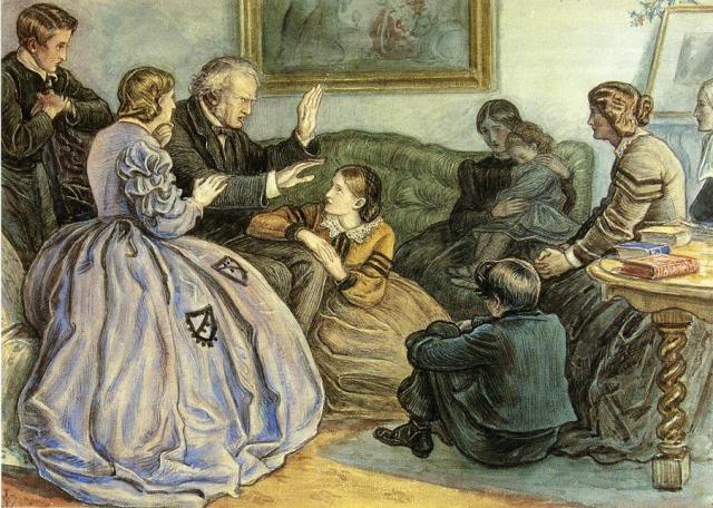 Tell us a story, please! (John Everett Millais, A Winter's Tale)