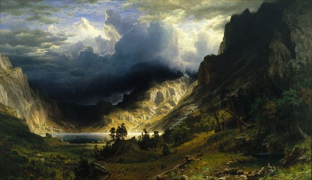How much symbolism can I cram in here? Well, there's a mountain, just like in the story. There's a storm, and we all know what that used to mean in Hollywood movies. And the painter, Albert Bierstadt (1830-1902) named the mountain after the woman who was then his mistress.