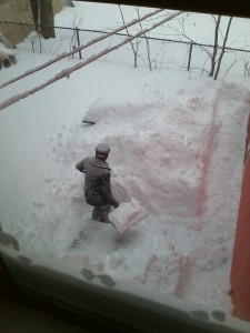 It's E.J. Barnes's turn to shovel out the back yard