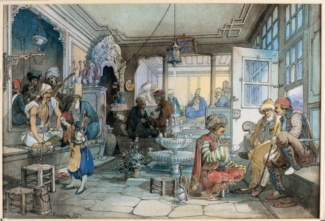 Jane ends up at a coffehouse, but even Netherfield doesn't have coffeehouses as exotic as this one. Painting by Amadeo Preziosi (1816 - 1882), who for many years made his living painting watercolors for tourists in the Near East and Balkans!