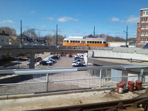 The Mattapan trolley. They use an old jet engine to clear this line's tracks.