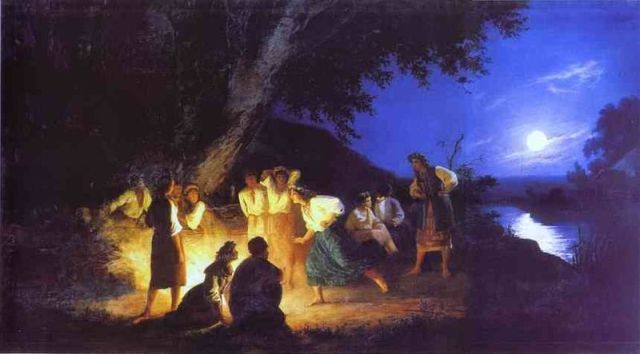 "There is the sort of mystery that lead to many mistakes, some of which take 9 months. It's ""Night on the Eve of Ivan Kupala"" (a hybrid pagan/Christian midsummer celebration in Russia) by Henryk Siemiradzki (1843-1902)"