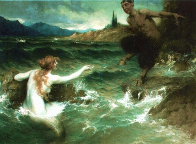 "The way things are going in Netherfield, this could become a common sight. (""The Mermaid and the Satyr"" by Ferdinand Leeke (1859-1923))"