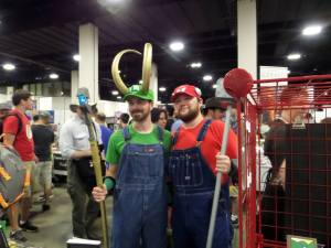 Cosplayers as Thor and Luigi (photo: E. J. Barnes)