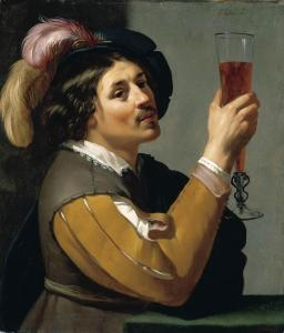 "Harry likes to think of himself this way . . . well, without the mustache. (""Young Man Drinking a Glass of Wine"" by Jan van Bijlert (1597-1671))"