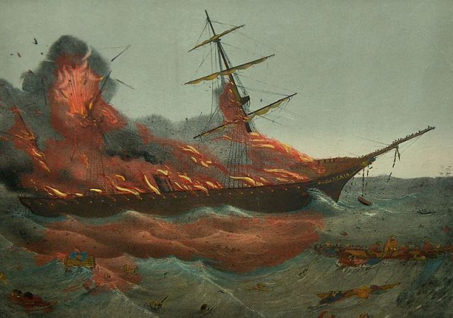 (SS Austria, destroyed by fire at sea, 13 September 1858)