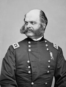 """Burnside, sideburns, get it? Real U.S. Civil War general. Led his troops to disaster at Antietam, Fredricksburg, and """"The Crater."""" His home state of Rhode Island rewarded his military incompetence by electing him as Governor and as a U.S. Senator. Americans sometimes do strange things like that."""
