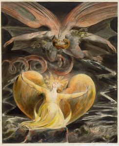 It's not quite a dragon breathing fire on a woman, but it's William Blake, and I say it's close enough!
