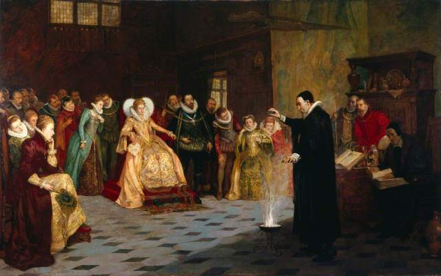 "Royal magicians have been around for a while! (Painting: ""John Dee Performing an Experiment before Elizabeth I"" by Henry Gillard Glindoni (1852-1913), image available under Creative Commons license from Wellcome Library"