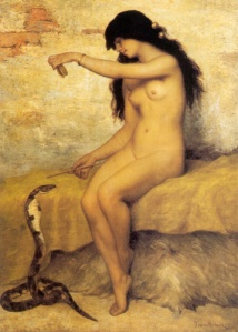 The Nude Snake Charmer by Paul Trouillebert (1829 - 1900)